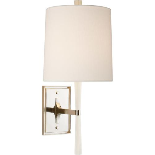 Barbara Barry Refined Rib 1 Light 8 inch China White and Polished Nickel Wall Sconce Wall Light