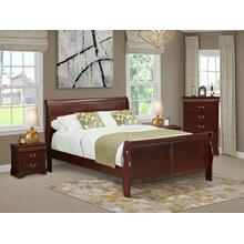 West Furniture Louis Philippe 4 Piece Queen Size Bedroom Set in Phillip Walnut Finish with Queen Bed,2 Nightstands Chest