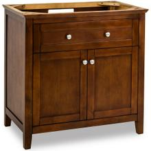 "35-11/16"" Chocolate Brown vanity base with Satin Nickel hardware and Shaker style"