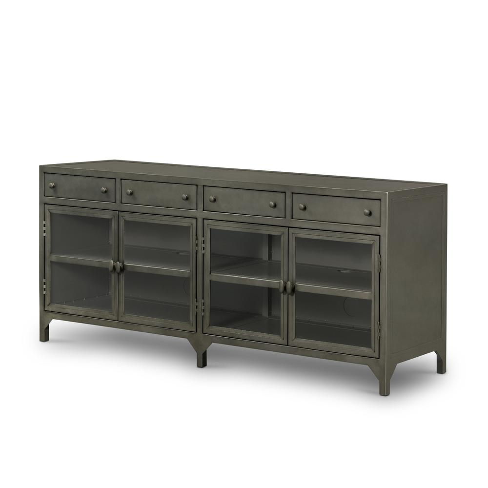 Gunmetal Finish Shadow Box Media Console