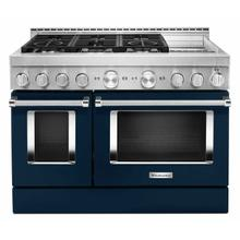 See Details - KitchenAid® 48'' Smart Commercial-Style Gas Range with Griddle - Ink Blue