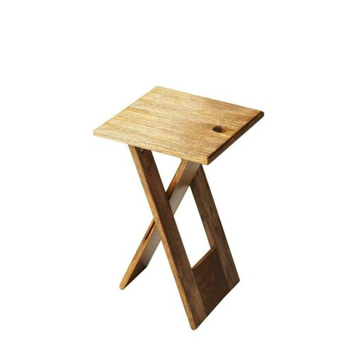 Whimsical, versatile and fun! This folding table is designed to snuggle into a small spot for a brief visit or a long stay. Folds easily for compact storage. Crafted from Mango wood and Acacia wood solids. Finished in a Natural tone.