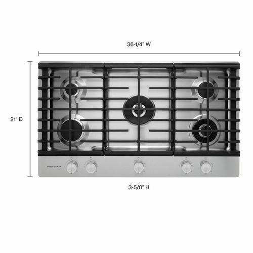 """KitchenAid - 36"""" 5-Burner Gas Cooktop with Griddle - Stainless Steel"""