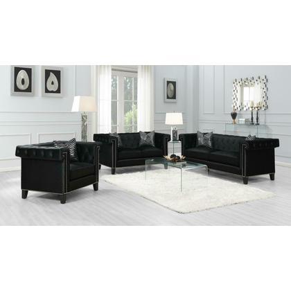 See Details - Reventlow Formal Black Three-piece Living Room Set