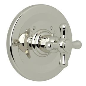 Verona Thermostatic Trim Plate without Volume Control - Polished Nickel with Cross Handle