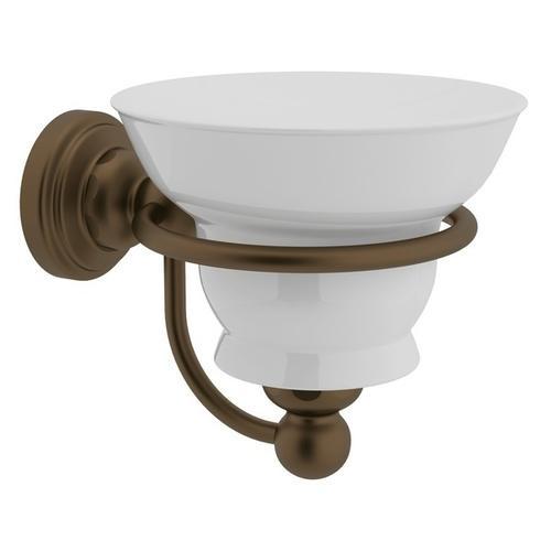 English Bronze Perrin & Rowe Edwardian Wall Mount Porcelain Soap Dish