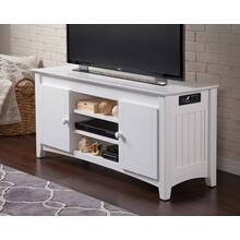 See Details - Nantucket 50 inch Entertainment Console with Adjustable Shelves and Charging Station in White