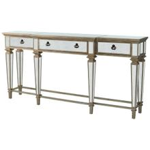 See Details - Crafted with Birch Wood solids, mirror and trimmed in antique pewter...this spectacular console table is making a statement! This table is scaled to be used at an entry, but will definitely work behind a sofa or anywhere you'd like to add a touch of elegance. Three generous sized drawers, offer storage options.