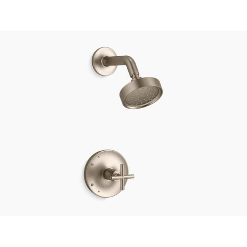 Kohler - Vibrant Brushed Bronze Rite-temp Shower Trim With Cross Handle and 1.75 Gpm Showerhead
