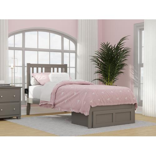 Atlantic Furniture - Tahoe Twin Extra Long Bed with Foot Drawer and USB Turbo Charger in Grey