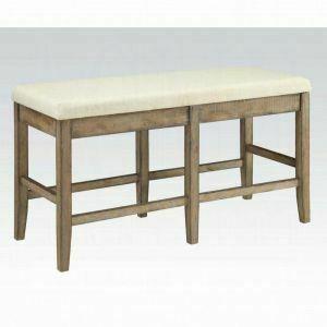 ACME Claudia Counter Height Bench - 71723 - Beige Linen & Salvage Brown