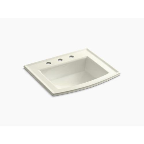 "Biscuit Drop-in Bathroom Sink With 8"" Widespread Faucet Holes"