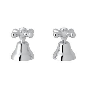 "Polished Chrome Verona Deck Mount Set Of Hot & Cold 1/2"" Sidevalves with Cross Handle Product Image"