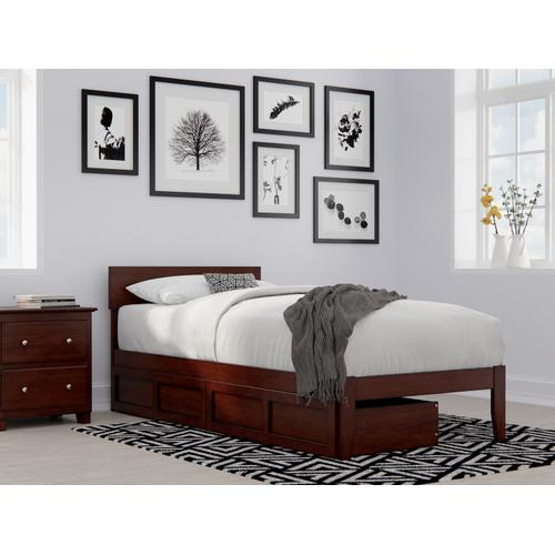 Atlantic Furniture - Boston Twin Extra Long Bed with 2 Extra Long Drawers in Walnut