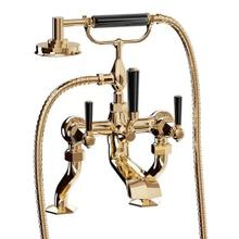 See Details - Waldorf Exposed Deck-mount Bathtub Faucet with Handshower and Black Lever Handles - Unlacquered Brass