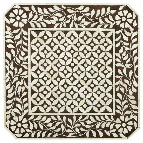 Add this table to your favorite powder room, guest room or relaxing corner! This Brown Bone Inlay accent table has a beautifully intricate design with elegant square shape and hand inlay craftsmanship on aprons, uprights, shelf and table top. Truly an unc