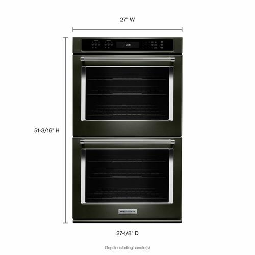 """KitchenAid - 27"""" Double Wall Oven with Even-Heat™ True Convection - Black Stainless Steel with PrintShield™ Finish"""