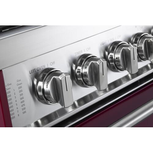 "Verona - Burgundy 36"" Gas Double Oven Range - Prestige Series"