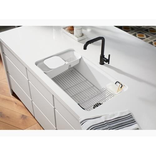 "Biscuit 33"" X 22"" X 9-5/8"" Undermount Single-bowl Workstation Kitchen Sink With Accessories"