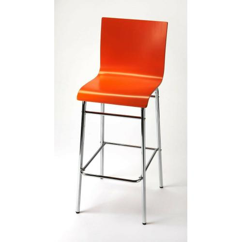 Enhance your kitchen, bar or work space with this modern bentwood barstool. Its high-back rectangular seat is finished in bold orange with a chrome plated steel tube base and footrest.