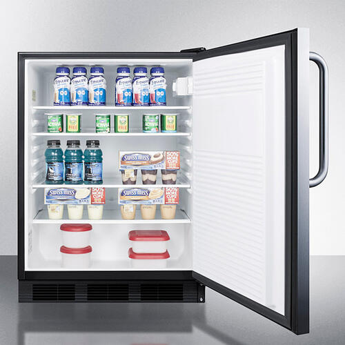 Product Image - ADA Compliant Commercial All-refrigerator for Freestanding General Purpose Use, Auto Defrost W/ss Door, Towel Bar Handle, and Black Cabinet
