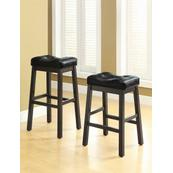 Transitional Black Upholstered Bar Stool