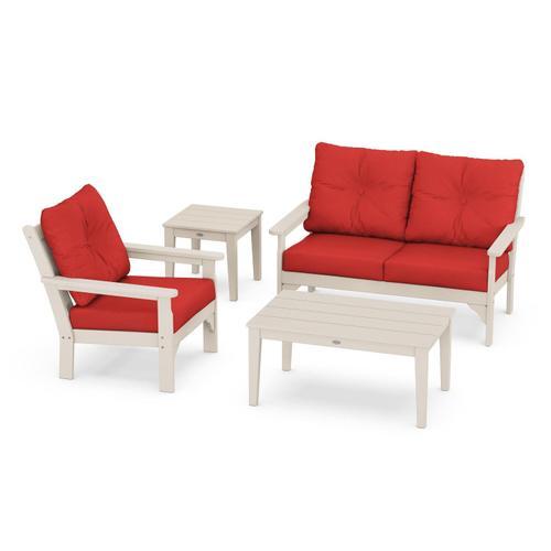 Vineyard 4-Piece Deep Seating Set in Sand / Crimson Linen
