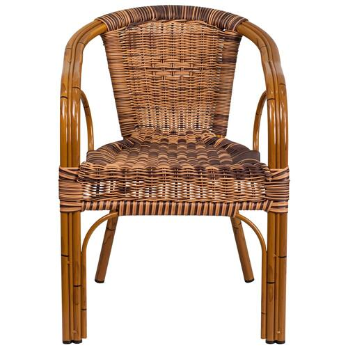 Burning Brown Rattan Restaurant Patio Chair with Dark Red Bamboo-Aluminum Frame