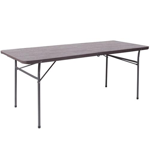 30''W x 72''L Bi-Fold Brown Wood Grain Plastic Folding Table with Carrying Handle