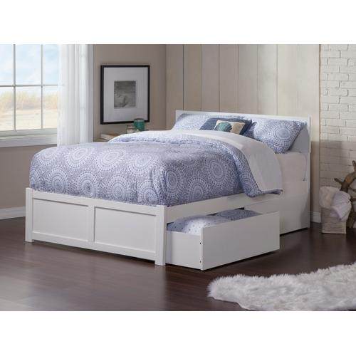 Orlando Queen Flat Panel Foot Board with 2 Urban Bed Drawers White