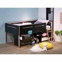 ACME Prescott Loft Bed - 37980 - Industrial - Wood (Rbw), Wood Veneer (Poplar, LVL), MDF - Black and Rose-Gold