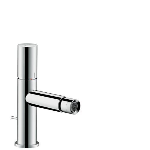 Chrome Single lever bidet mixer with zero handle and pop-up waste set