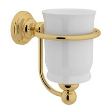 Edwardian Porcelain Wall Mount Single Tumbler Holder - English Gold