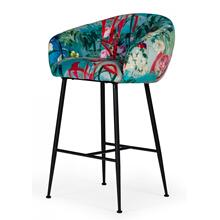 Modrest Roxann - Contemporary Floral Velvet Bar Stool