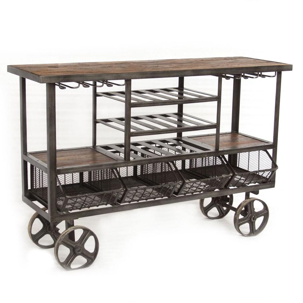 """Industrial Teak 60"""" Bar Trolley"""
