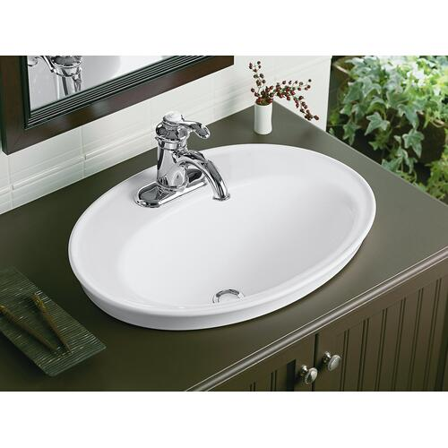 "Black Black Drop-in Bathroom Sink With 4"" Centerset Faucet Holes"