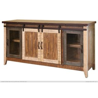 "70"" TV Stand w/2 Glass doors w/1 middle shelf, 2 Sliding doors, w/2 shelves"