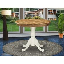 Antique Dining Table Made of Acacia Wood offering Wood Texture Table Top, 36 Inch Round, Linen White Pedestal