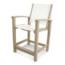 Sand & White Coastal Counter Chair