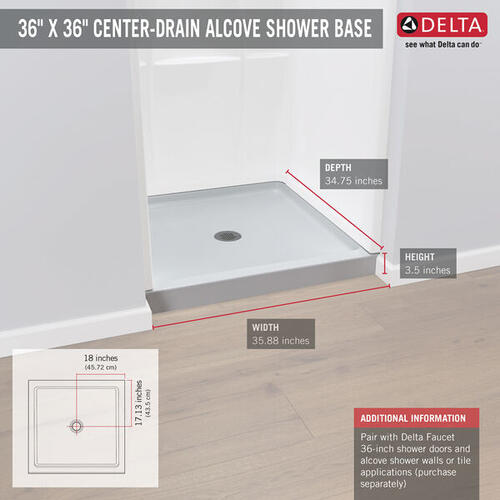 "High Gloss White 36"" X 36"" Shower Base"