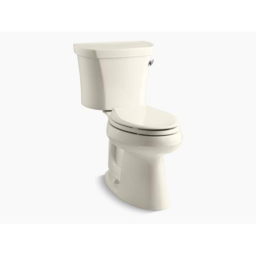 """Kohler - Almond Two-piece Elongated 1.28 Gpf Chair Height Toilet With Right-hand Trip Lever, Insulated Tank and 14"""" Rough-in"""