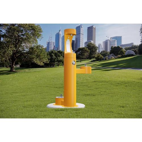 Elkay - Elkay Outdoor EZH2O Bottle Filling Station Bi-Level, Pedestal with Pet Station Non-Filtered Non-Refrigerated Yellow