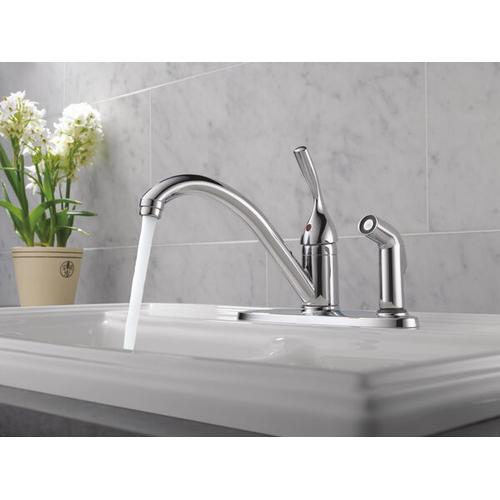 Product Image - Chrome Single Handle Kitchen Faucet with Integral Spray