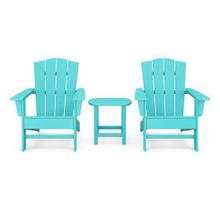 View Product - Wave 3-Piece Adirondack Chair Set with The Crest Chairs in Aruba