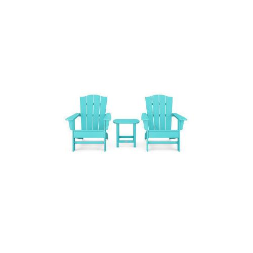 Polywood Furnishings - Wave 3-Piece Adirondack Chair Set with The Crest Chairs in Aruba