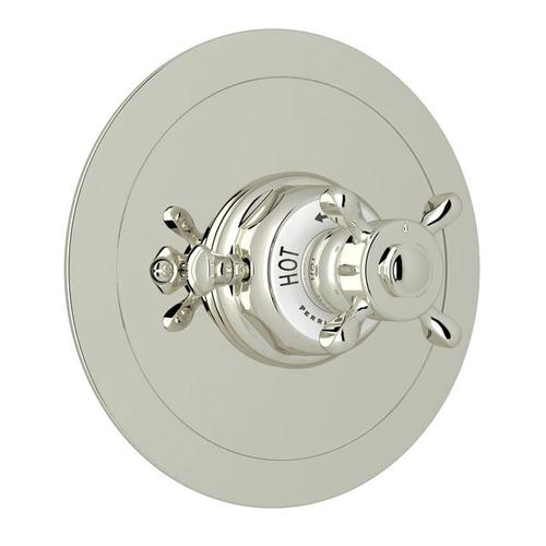 Edwardian Era Round Thermostatic Trim Plate without Volume Control - Polished Nickel with Cross Handle