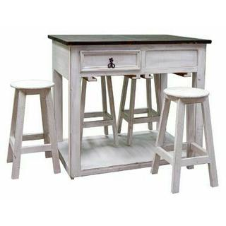 See Details - Weathered White/coffee Island W/ Stools