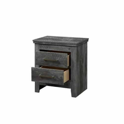 ACME Vidalia Nightstand - 27323 - Rustic - Wood (Solid Pine), Veneer (Melamine/Paper), MDF, PB - Rustic Gray Oak