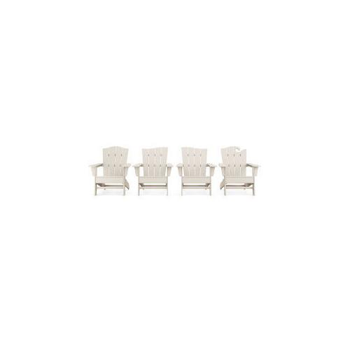 Polywood Furnishings - Wave Collection 4-Piece Adirondack Chair Set in Sand