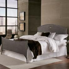 View Product - Barrington Metal Bed with Industrial Circular Designed Headboard and Footboard, Silver Bisque Finish, Queen